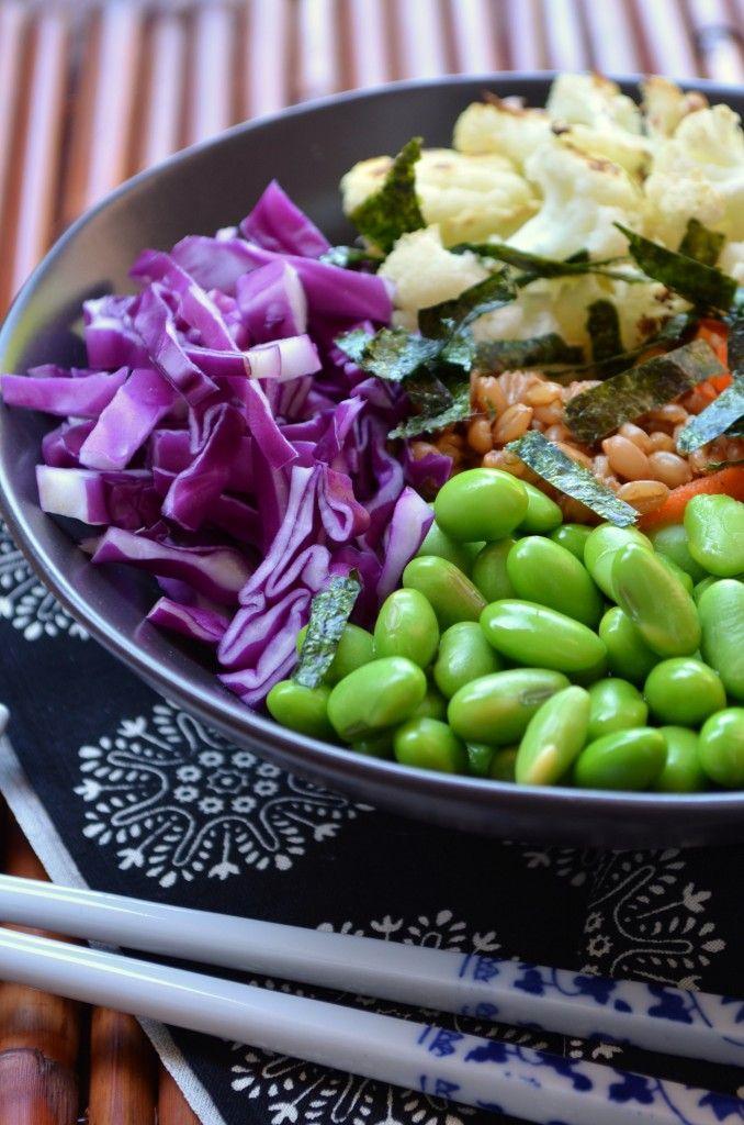Spelt Berry Sushi Bowl with Roasted Cauliflower