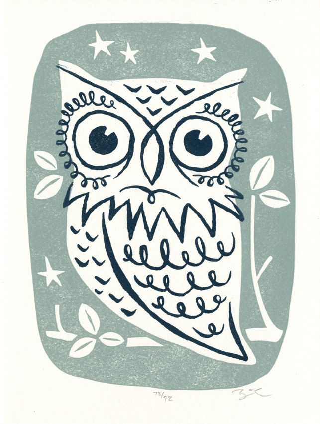 Owl - Letterpress mini print. $10.00, via Etsy.