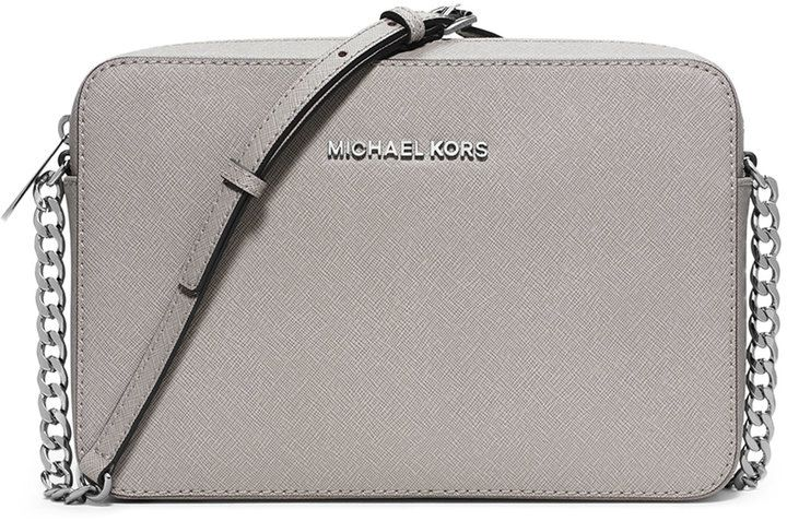 MICHAEL Michael Kors Jet Set Travel Large Crossbody Bag, Pearl Gray