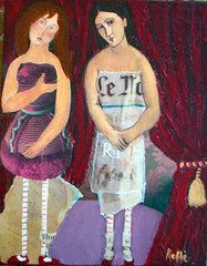 Jo Roffe - Such a Gossip. Mixed media with some help from Modigliani.