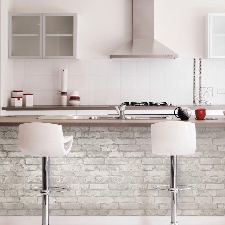 NuWallpaper Grey and White Brick Peel & Stick Wallpaper ...