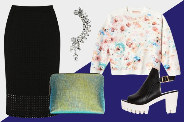 5 Ways Your Day Duds Can Shine At Night #refinery29  http://www.refinery29.com/64533#slide2  Tone down the pencil skirt's prim vibe with a boxy sweatshirt, clomp-y heels, and an eye-catching single earring.   Rebecca Taylor Long Sleeve Poppy Sweatshirt, $195, available at Rebecca Taylor; Pixie Market Drifter White Platform Shoes, $106, available at Pixie Market; 3.1 Phillip Lim 31 Minute Iridescent Textured-Leather Clutch, $425, available at Net-A-Porter; Forever 21 Glam Girl Earcuff, $8.80…