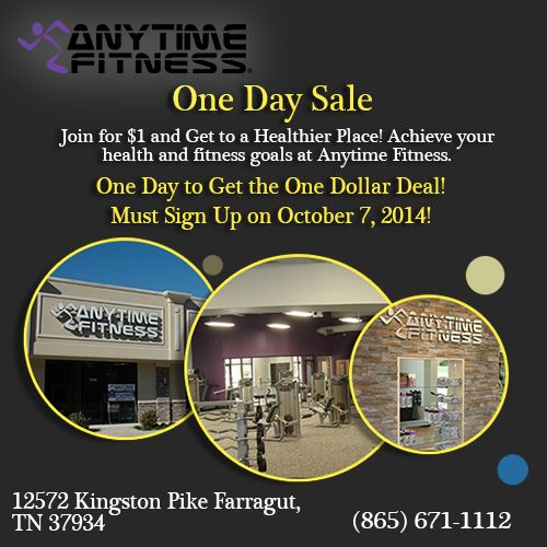 One Day Sale Join For 1 And Get To A Healthier Place Achieve Your Health And Fitness Goals At Anytime Fitn Anytime Fitness Fitness Goals Fitness Activities