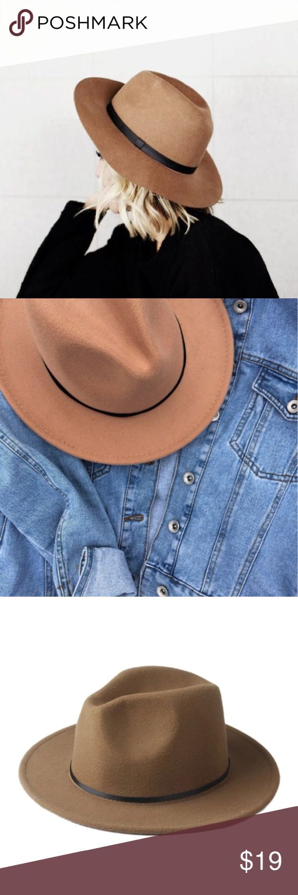 Wide Brim Wool Fedora Wide brim wool fedora hat in a camel/ khaki color. Color is most accurately depicted in the third photograph. Accessories Hats
