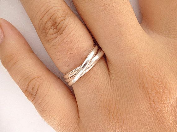 Sterling Silver Rolling Rings  Trinity Rings  by PRECIOUSWINGSCOM