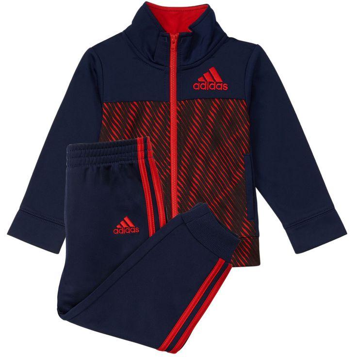 Boys 4-7x Adidas Abstract Tricot Jacket & Pants Set, Size: 7X, Blue (Navy)