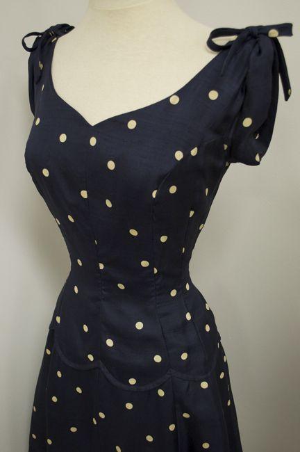 1940's Silk Navy Polka Dot Full Swing Skirt Cinch Waist Vintage Sundress