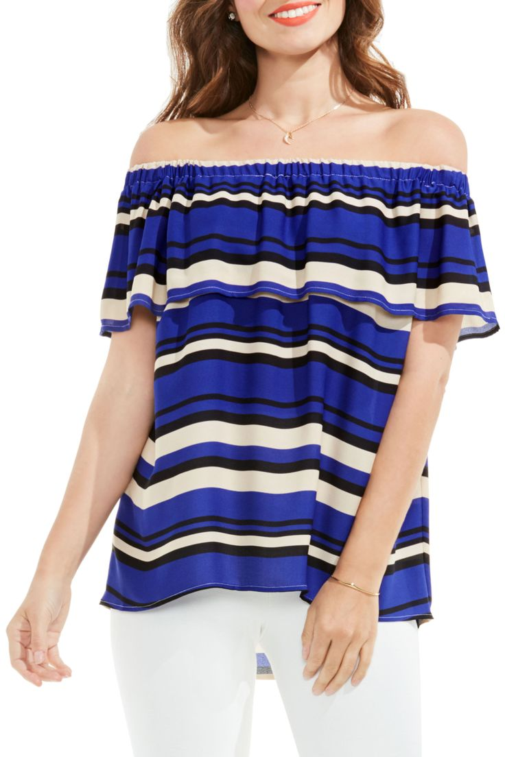 Stripe Ruffle Off the Shoulder Blouse