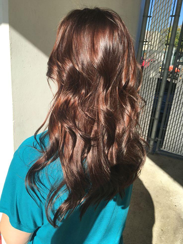 Brown hair, chocolate brown hair, rich brown hair, all over color, shiny brown hair, red brown hair, brunette