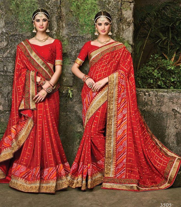 Indian wedding wear saree design bollywood bridal pakistani pure chifon red sari…