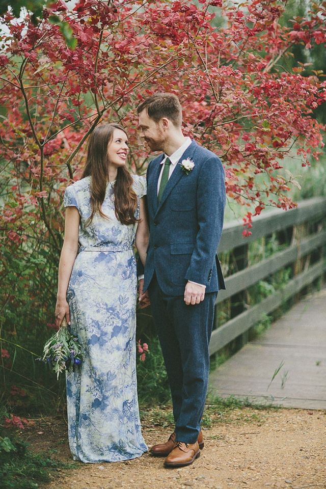 Autumnal Brunswick House Wedding - Bride wearing a print Erdem wedding dress