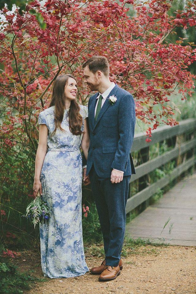 Autumnal Brunswick House Wedding - Bride wearing a print Erdem wedding dress