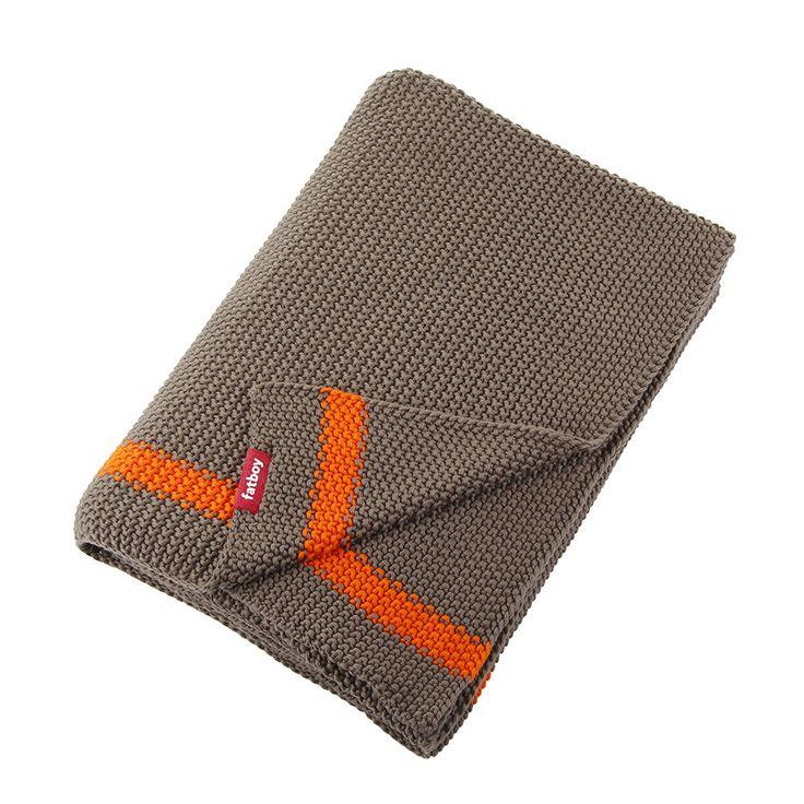 Discover the Fatboy Klaid Blanket - Taupe / Neon Orange Stripe at Amara