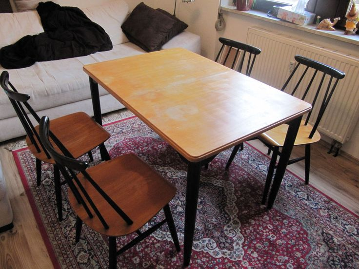 Asko Finnland Esszimmer Sitzgruppe 60er Jahre Tisch 4 Stühle In   Ebay  Esszimmer