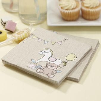 Lovely napkins with the rocking horse, teddy and building brick images on each one. Ideal for baby showers, christenings and first birthday parties.<br><br>Each pack contains 20 napkins 12.7 x 12.7 when opened out.