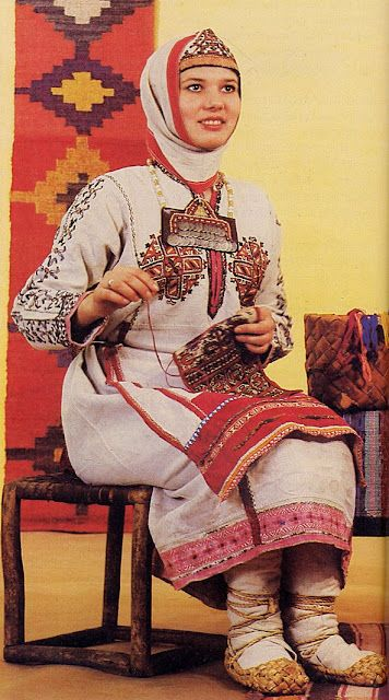 North Asia | Portrait of a Chuvash girl, wearing traditional clothes, Chuvashia, Russia #embroidery