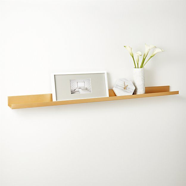 Metal Gold Wall Shelf 24 Cb2 With Images Modern Shelving