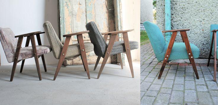 Takie same a jednak inne ;) od lewej:   1. Fotel wyprodukowany w Rudach Raciborskich, woj. śląskie   2. Fotel 366 wersja dębowa  3. Fotel 366 wersja bukowa 4. Fotel typ S-VII-3-20, Rejonowa Spółdzielnia Pracy Wytwórczo-Usługowa, Białośliwie