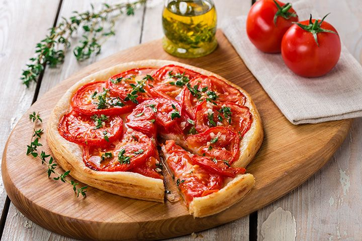 Paula Deen's Tomato Pie: The tomato is the star of this healthy pizza recipe from Paula Deen. | The Dr. Oz Show | Follow this Dr. Oz Recipe board Now and Make it later!