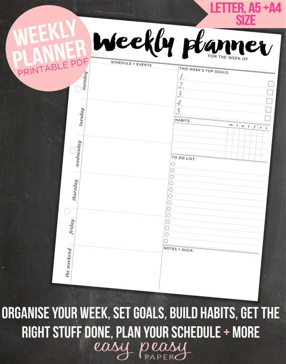 Weekly Planner PRINTABLE  Make every week a celebration with your weekly planner. Designed to fit perfectly in your binder, this delicately decorated weekly organizer will make organizing a thing of beauty. Your Weekly Planner is perfect if youve got a jam-packed schedule and lots of goals to accomplish each week.  :::::::::::: WHAT'S INCLUDED :::::::::::: Your Printable Planner contains the following: #1 PDF: A4 Size document featuring your Weekly Planner #2 PDF: Letter Size document…