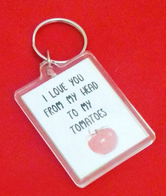 I Love You From my Head Tomatoes Keyring Tomato Puns Love