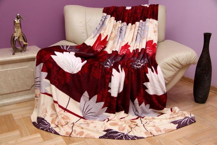 Béžovo bordová deka so vzorom kvetov
