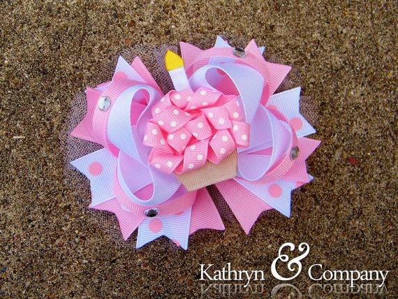 Birthday Cupcake Hair bow 2 in 1 Pink/White by KathrynAndCompany, $14.99