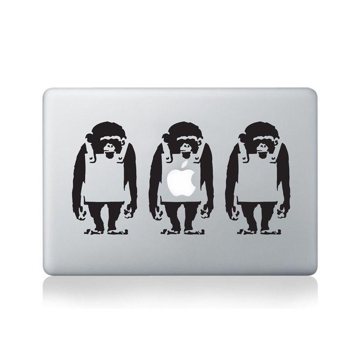Banksy Monkey Line Vinyl Decal for Macbook (13/15), Laptop or Guitar
