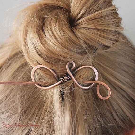 Plain Copper Hair Stick, Metal Hair Clip, Hair Pin, Hair Barrette, Shawl Pin Hair Accessories for Women Mom Gift for Her, Small Medium Slide