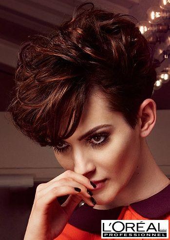 Women's short haircut with long bang