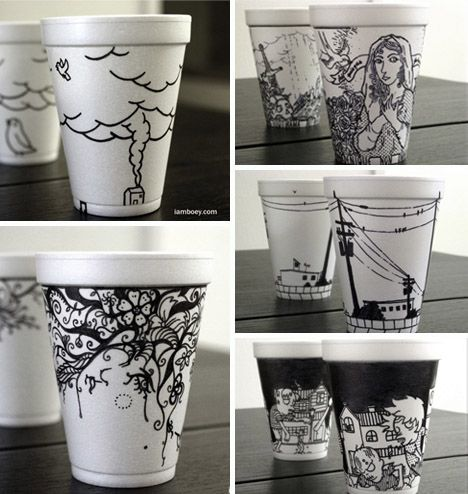 Styrofoam cup art by Iamboey. I know, too much exposure from the Sharpie commercials, but still awesome...modern take on blue and white and possibly spiffy fundraiser idea!