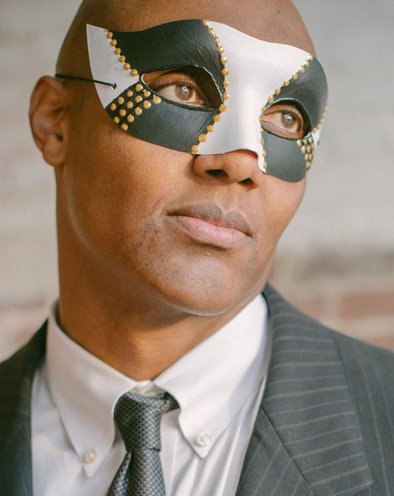 Male Masquerade Mask- masculine black white and gold mask