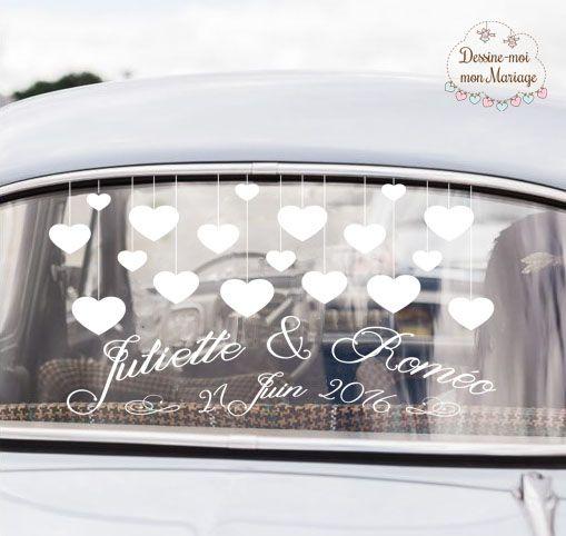 """☆☆ Stickers pour voiture mariage """"Coeurs"""" ☆☆ personnalisable avec vos textes pour décorer la voiture qui vous mènera à votre mariage. Existe en 2 tailles et 2 coloris. A partir de 20,90€."""