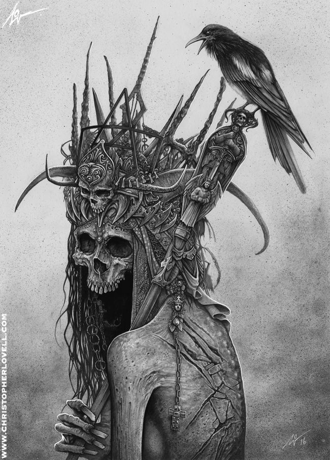 DARK ART TIME LAPSE VIDEO : (Link in description) by Lovell-Art skeleton crown raven crow litch king undead dead corpse monster beast creature animal | Create your own roleplaying game material w/ RPG Bard: www.rpgbard.com | Writing inspiration for Dungeons and Dragons DND D&D Pathfinder PFRPG Warhammer 40k Star Wars Shadowrun Call of Cthulhu Lord of the Rings LoTR + d20 fantasy science fiction scifi horror design | Not Trusty Sword art: click artwork for source