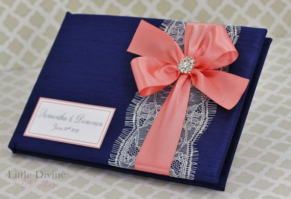 Navy Blue and Coral Wedding Guest Book Lace Custom by LittleDivine