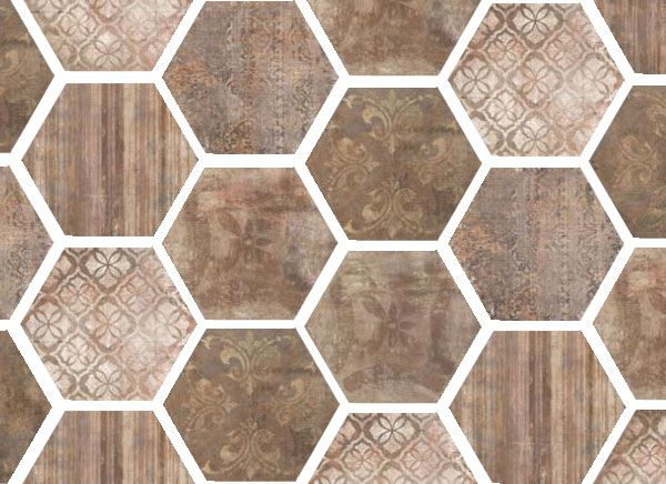 Lexington by FINE in Red is available in: 13x13, 20x20, 3x6, 6x20, and 6x6 field tile; 18x14 hexagon; and 3x13 battiscopa. Hexagonal decos and mixed basketweave mosaics also come in this line! #terracotta #hexagontile www.galleriastone.com