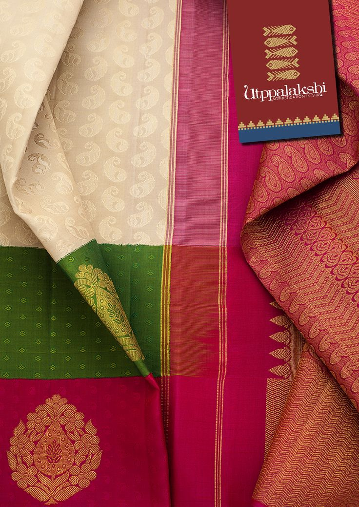 The double bordered - green and pink - and the pallu have a good representation of beautiful golden zari work. #Utppalakshi #Silksaree#Kancheevaramsilksaree#Kanchipuramsilks #Ethinc#Indian #traditional #dress#wedding #silk #saree #weaving#Chennai #boutique #vibrant#exquisit#weddingsaree#sareedesign #colorful #vivid #indian #southindian #bridal #festival #sophistication   https://www.facebook.com/Utppalakshi/   Contact: 097899 37149