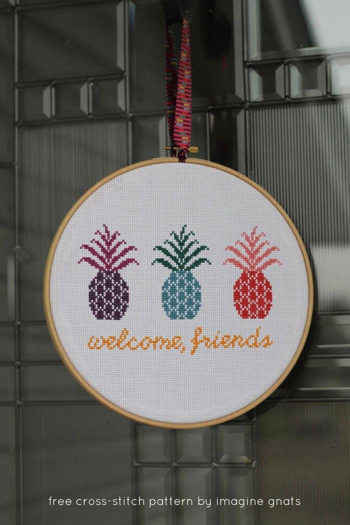 hand-stitching: free pineapple cross-stitch pattern || imagine gnats