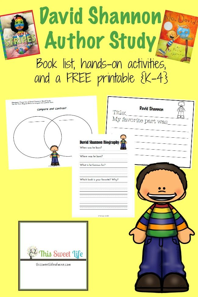 David Shannon is a popular children's author. Here's a collection of fun book-based activities and a brand new David Shannon printable pack for grades K-4! | thissweetlifeofmine.com