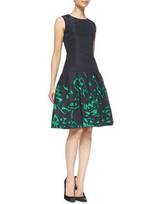 Sleeveless Printed Flared-Skirt Dress by Oscar de la Renta at Neiman Marcus.