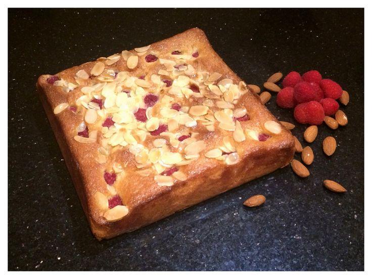 Raspberry & Almond Cake With Elderflower Glaze Border