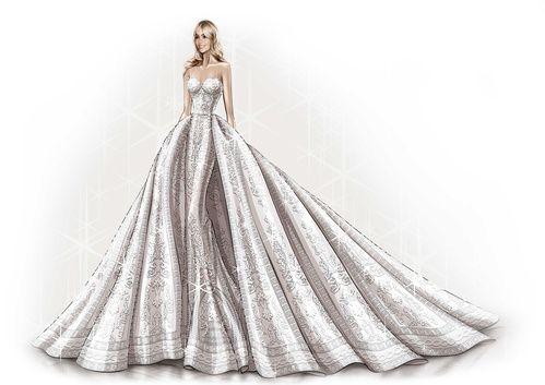 Le croquis de la robe de mariée sur-mesure Zuhair Murad de Sofia Vergara