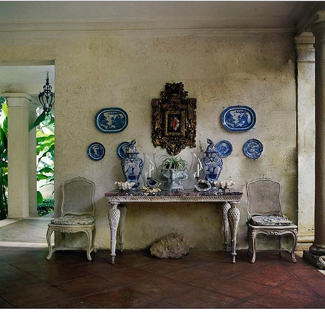 @botanicaetcetera   Blue No.1.  Dining loggia Mango Bay, Barbados  Designed by Oliver Messel  Photographer: Derry Moore  Other Details unknown  Thanks to @carolyn.quartermaine @carloslora11   #blueandwhite #architecture #veranda #plates #tropics #tropical #cooling #living #arrangment #breezy #chic #decor #luxe #design #home #interiors #interiors #old #interiordesign #interiorarchitecture #lifestyle #patina #rustic #style #tropicalstyle #stylish
