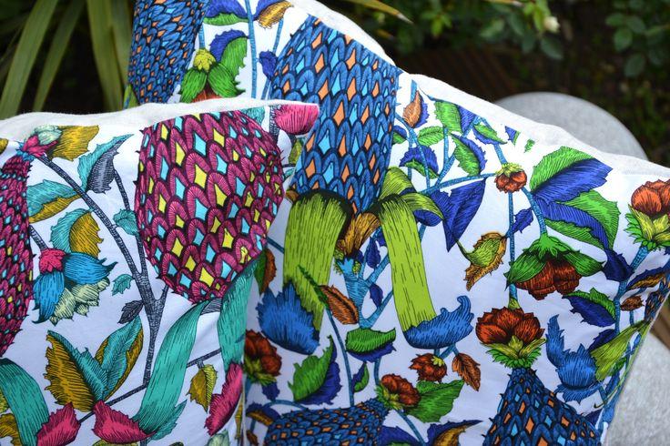Green Flora & Fauna Cushion Cover / Red Flora & Fauna Cushion Cover - £22.00