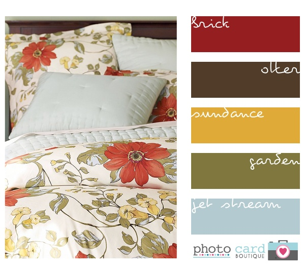 I'm pinning this for the lovely color palette at the side - the yellow, green, and blue are my dream living room colors, while the brown and red are my dream family room colors!