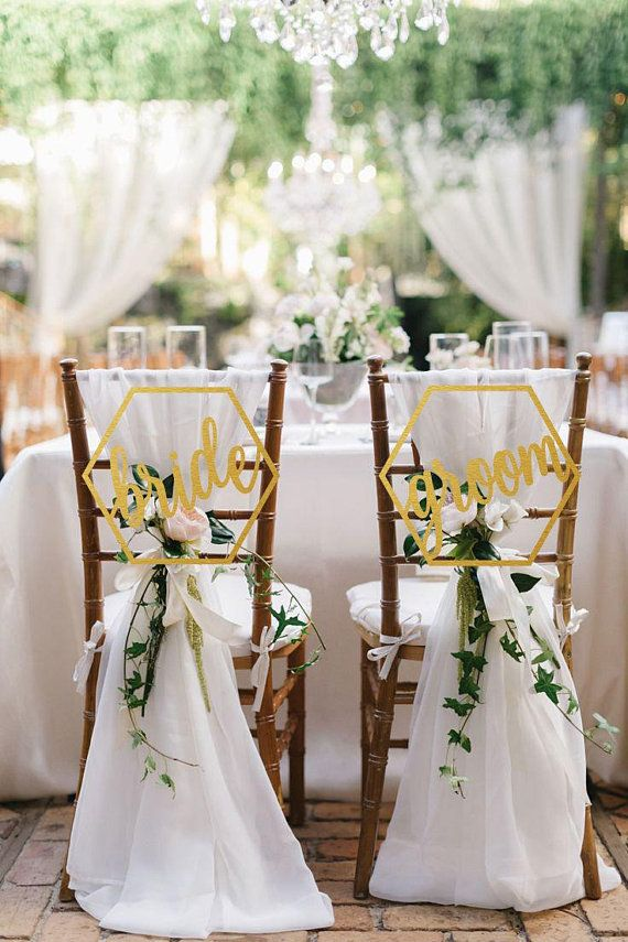 Wedding Chair Sign Groom And Bride Hexagon Chair Signs Wooden Chair Sign Groom And Bride Chair Backs Bride And Groom Wedding Chair Decor