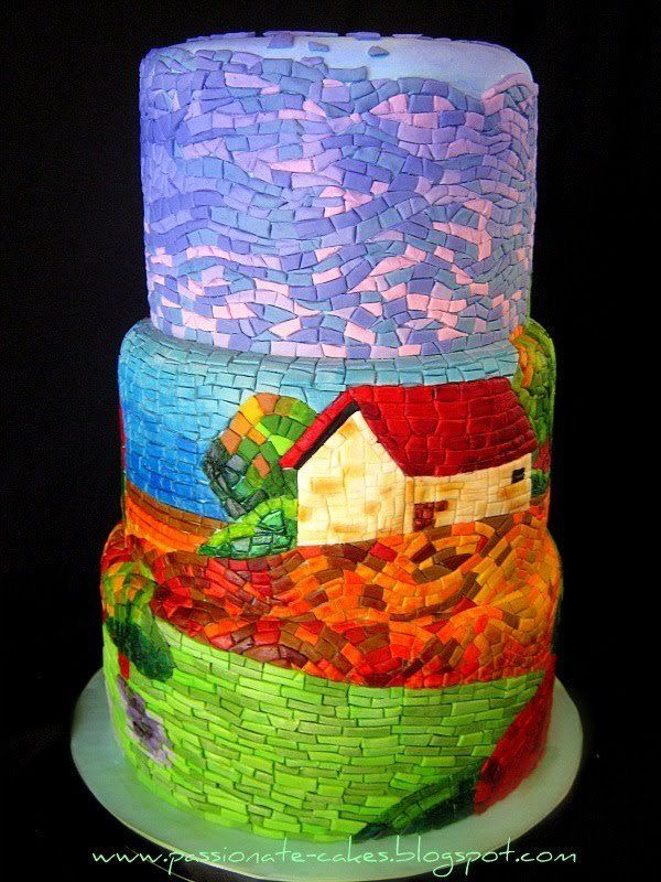 Mosaic tiered cake with cottage scene ~ Amazing amount of work. Beautiful result.