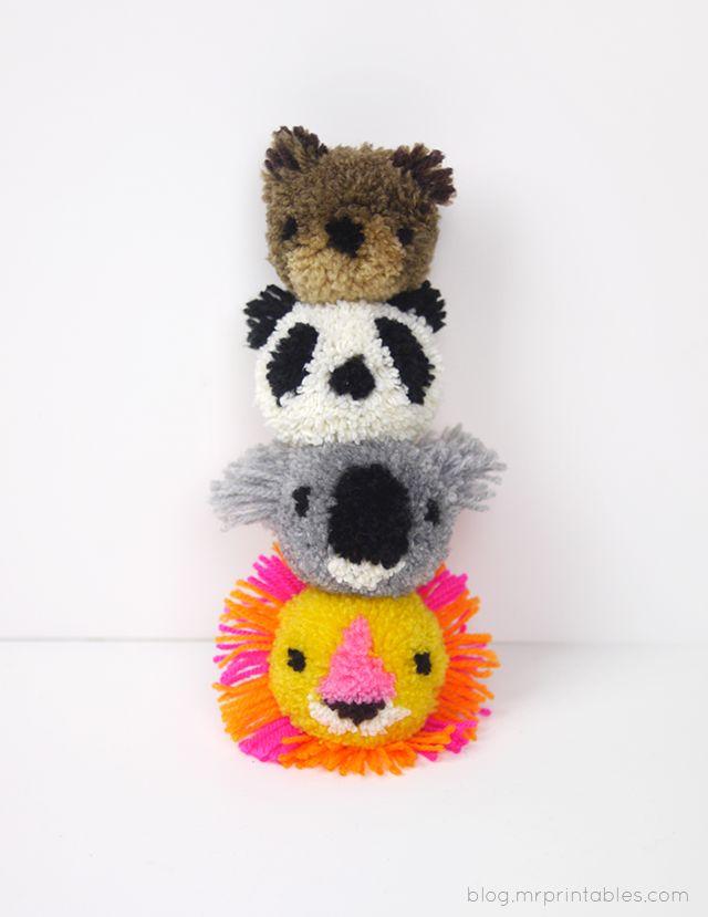 Cómo hacer Pompones Animales - Tutorial | D. Imprimibles