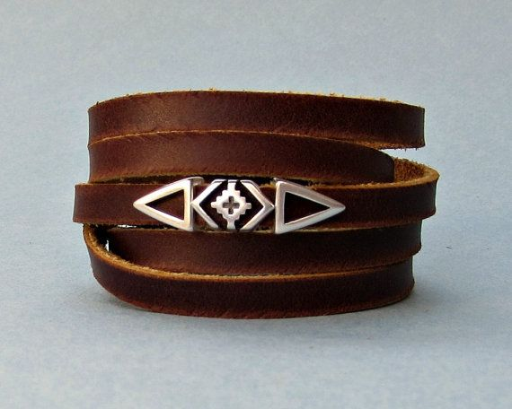 Geometric Men's Leather Wrap Bracelet Cuff Boho Unisex by GUSFREE