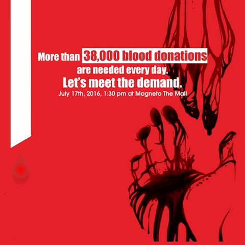 Be A Hero – Save Three Lives!!! More than 38,000 blood donations are needed every day. Let's meet the demand. Come, be a part of the worthy initiative & make it a huge success.. BLOOD DONATION CAMP WHEN: Sunday, July 17th '2016, 1:30 PM onwards WHERE: Magneto - The Mall #BloodDonation #SaveLife #Raipur #Chhattisgarh